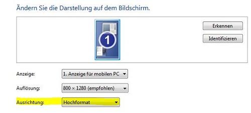Den Bildschirm unter Windows 7 drehen