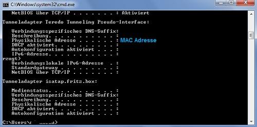 Unter Physikalische Adresse finden Sie die MAC-Adresse