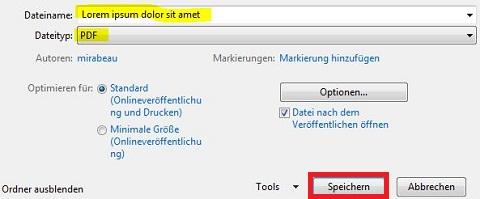 Dateinamen vergeben, PDF auswählen und speichern