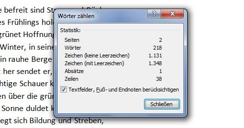 Word 2010: Zeichen zählen und andere statistische Angaben zum Dokument