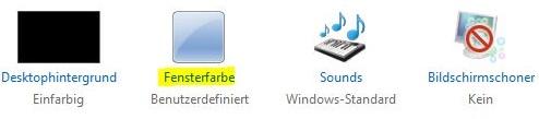 Klicken Sie auf Fensterfarbe, um Aero zu aktivieren