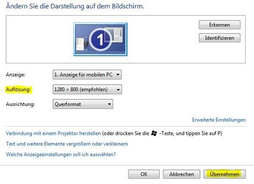 Die Auflösung unter Windows 7 ändern