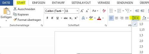 Zeilenabstand für markierten Text ändern