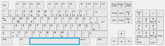 Die Leertaste auf der Tastatur