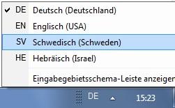 Wechsel zwischen Schwedisch und Deutsch.